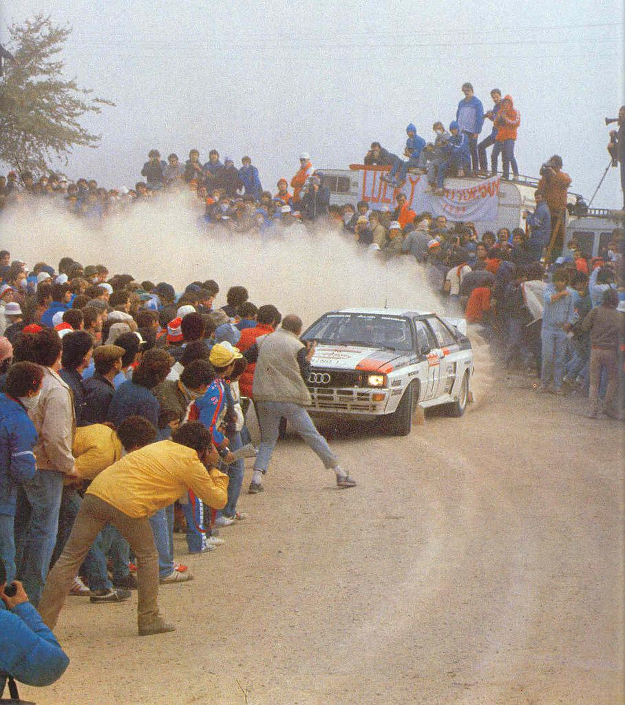 Fans jumping out of the way of an Audi Quattro A1