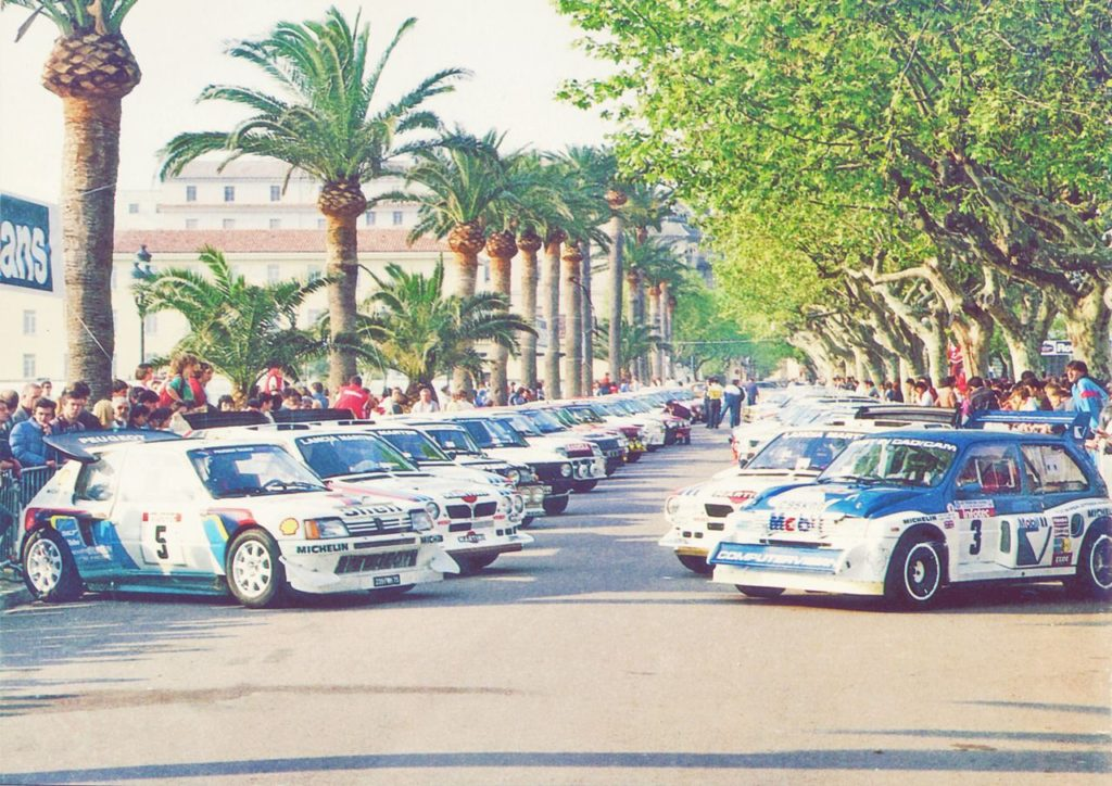 The Group B cars before the start of Tour de Corse